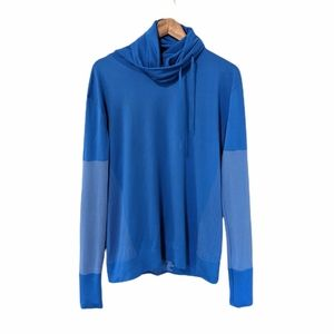 Nike Dri-Fit Womens Cowl Neck Athletic Long Sleeve Blue Top size large